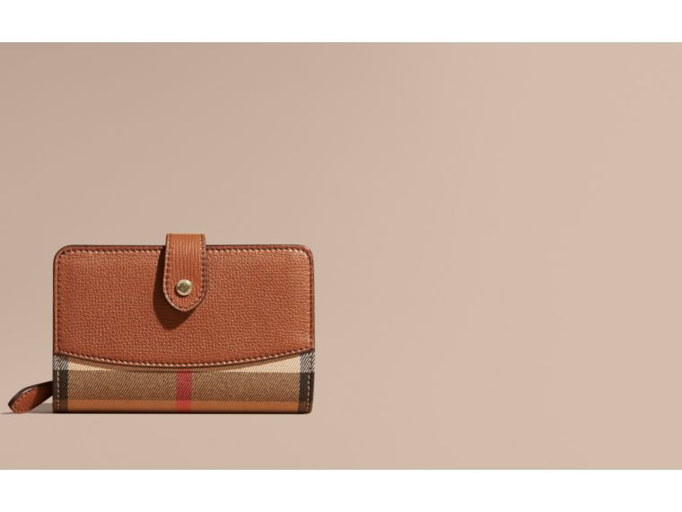 Tan House Check and Leather Wallet Tan - cell image 1