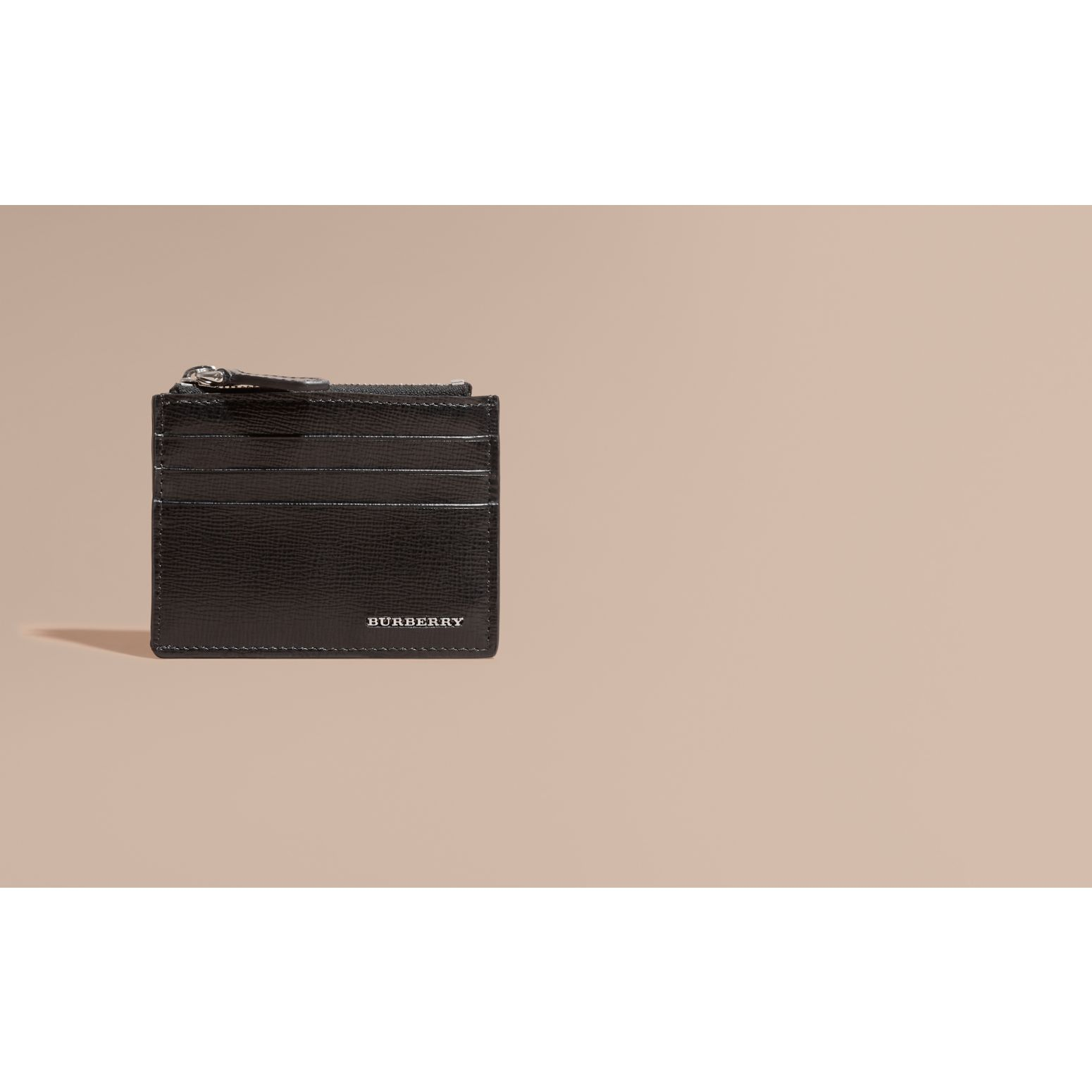 London Leather Zip-top Card Case in Black | Burberry Singapore - gallery image 2