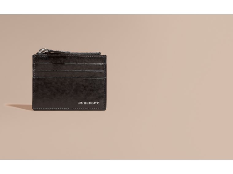 London Leather Zip-top Card Case in Black | Burberry Hong Kong - cell image 1