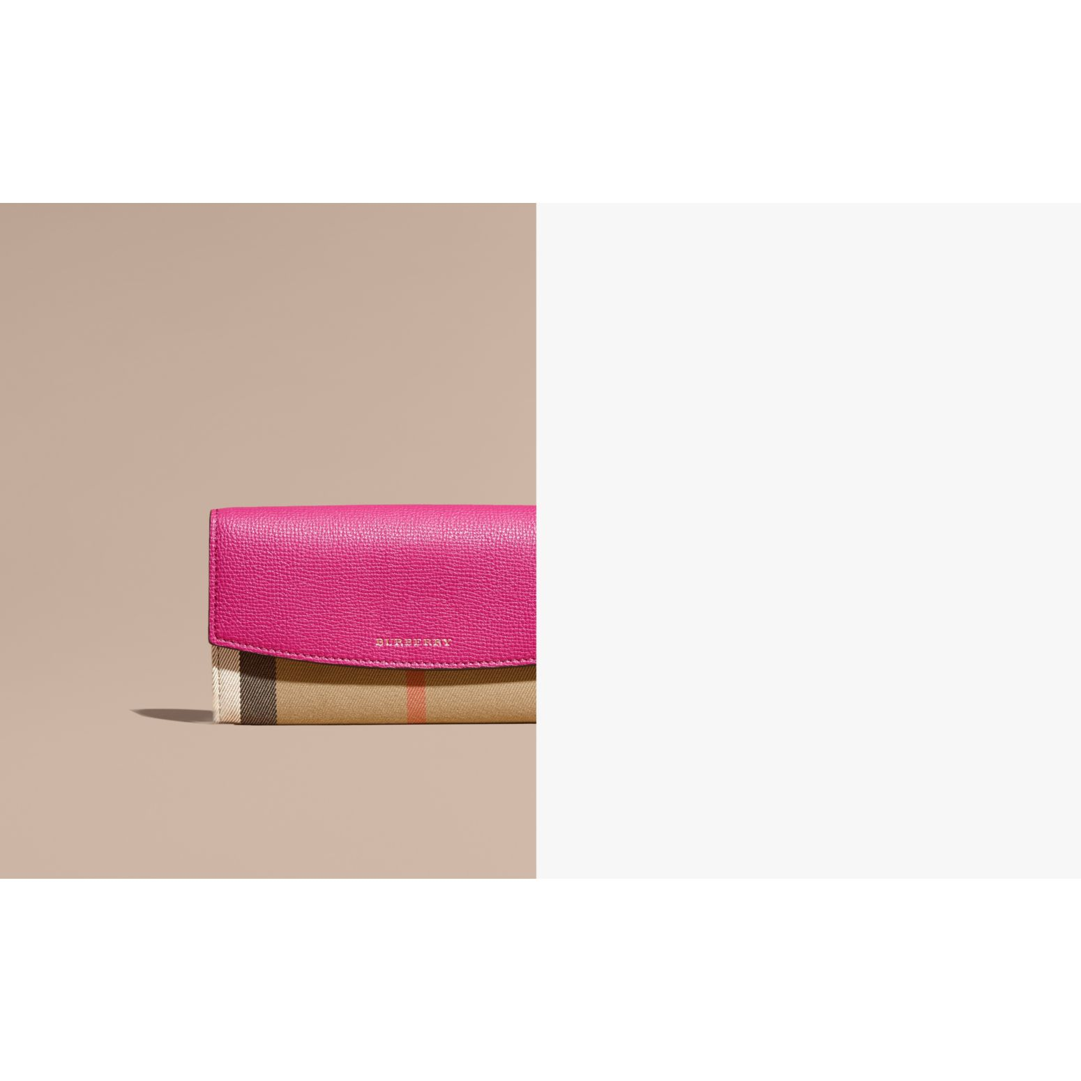 House Check and Leather Continental Wallet in Brilliant Fuchsia - Women | Burberry - gallery image 2