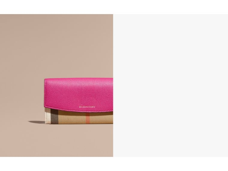 House Check and Leather Continental Wallet Brilliant Fuchsia - cell image 1