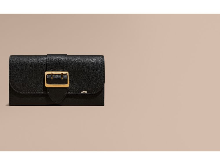 Textured Leather Continental Wallet in Black - Women | Burberry - cell image 1