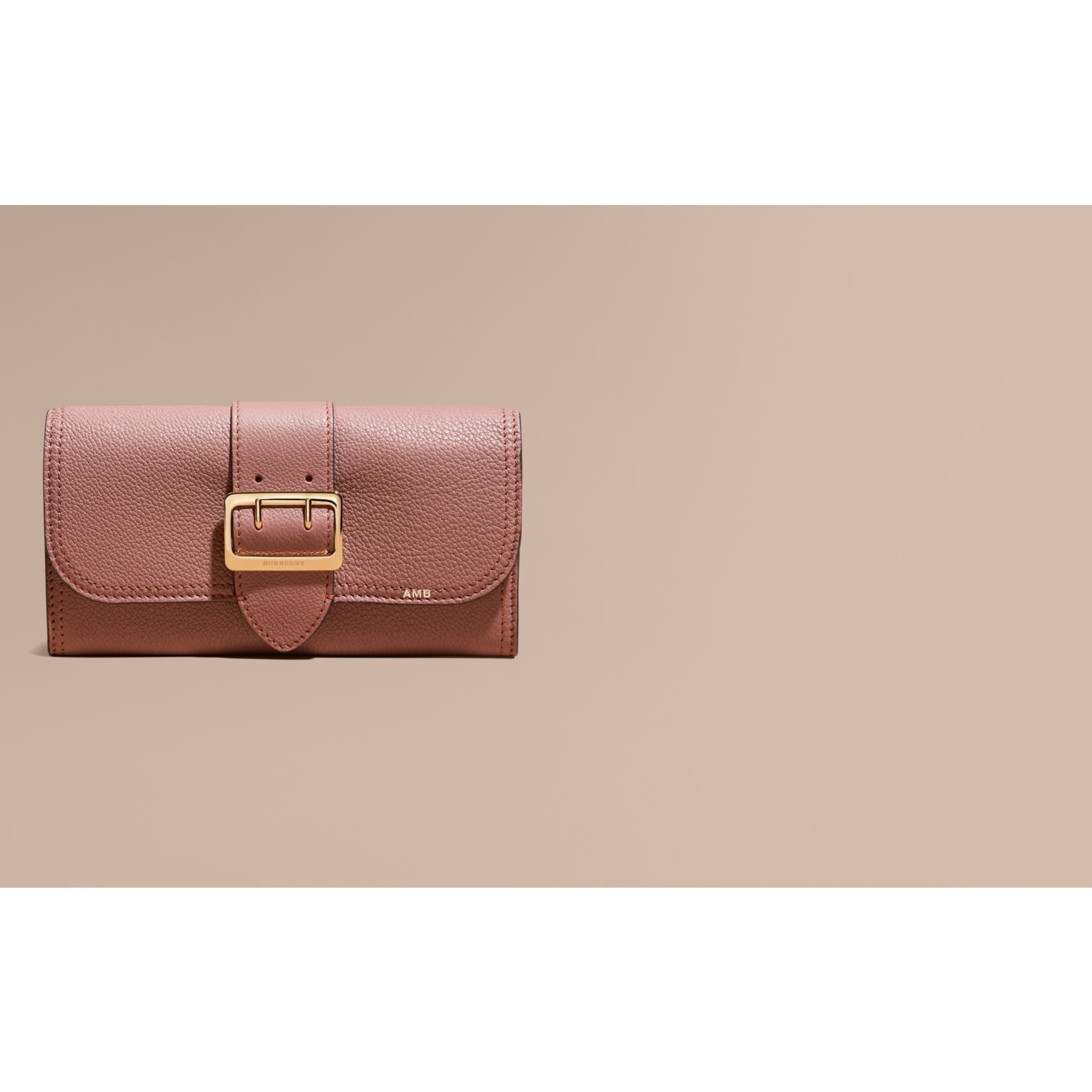 Textured Leather Continental Wallet in Dusty Pink - Women | Burberry - gallery image 2