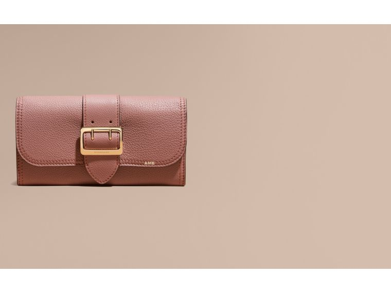 Textured Leather Continental Wallet in Dusty Pink - Women | Burberry Canada - cell image 1