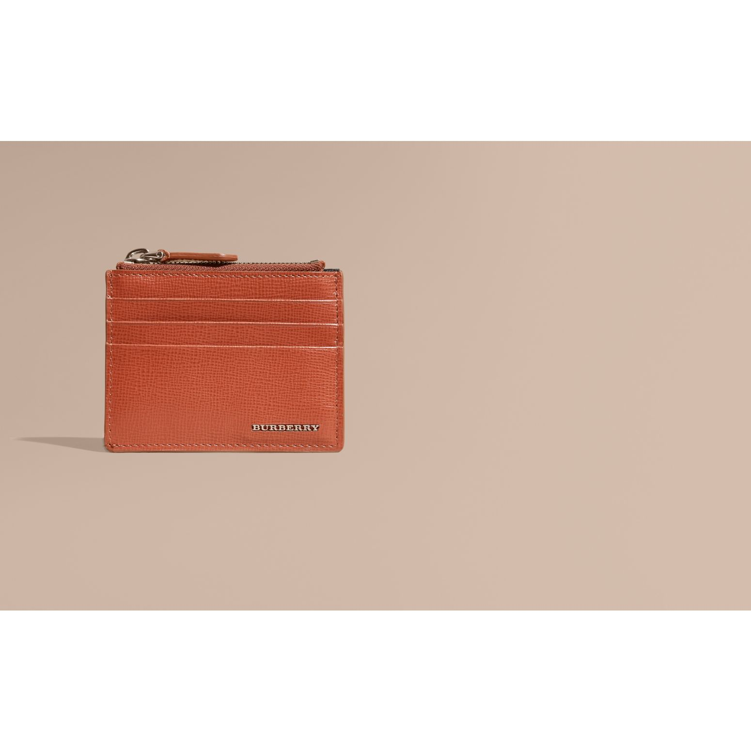 London Leather Zip-top Card Case Burnt Sienna - gallery image 2