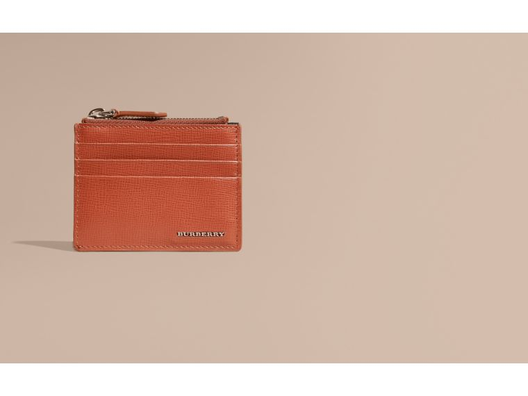 London Leather Zip-top Card Case Burnt Sienna - cell image 1