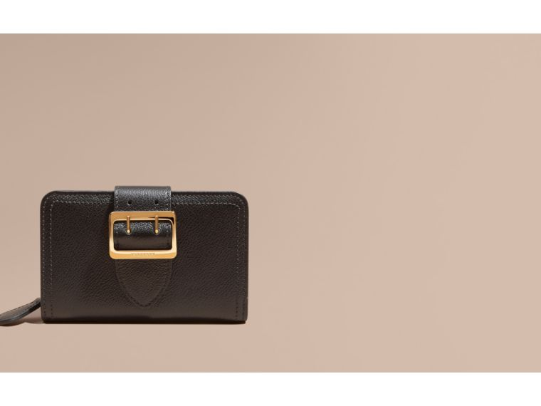 Black Buckle Detail Grainy Leather Wallet Black - cell image 1