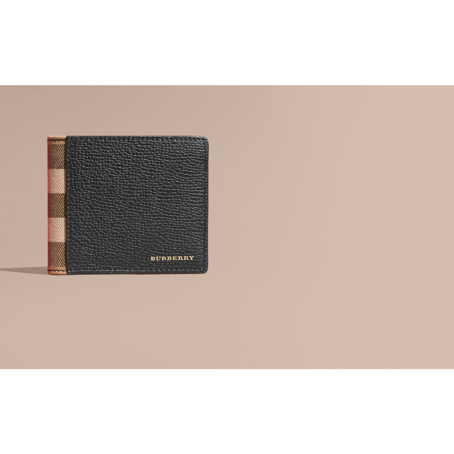 Leather and House Check International Bifold Wallet in Black | Burberry Australia - gallery image 2