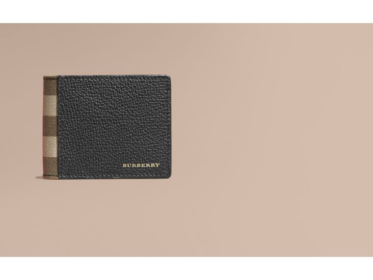 Grainy Leather and House Check Bifold Wallet in Black | Burberry Singapore - cell image 1