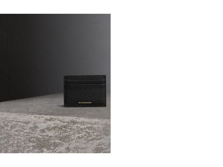 House Check and Grainy Leather Card Case in Black | Burberry - cell image 1