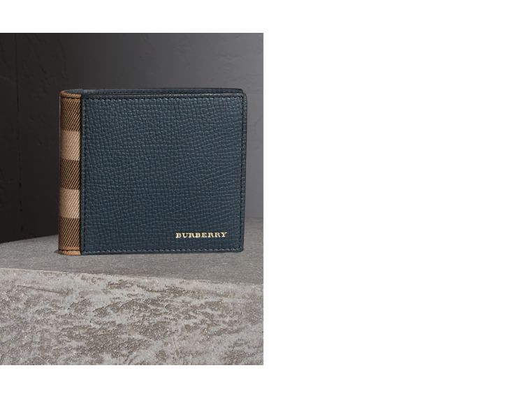 Leather and House Check International Bifold Wallet in Storm Blue | Burberry - cell image 1