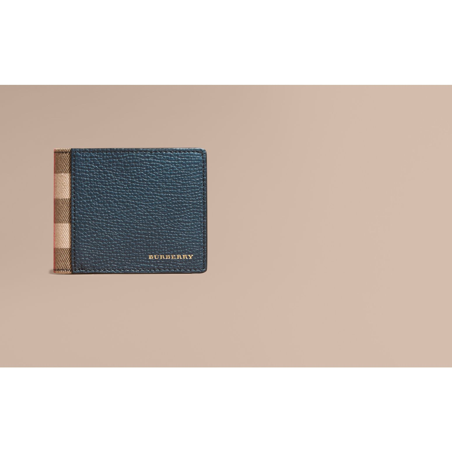 Grainy Leather and House Check Bifold Wallet in Storm Blue - gallery image 2