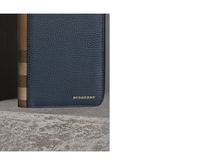 House Check and Grainy Leather Ziparound Wallet in Storm Blue | Burberry Singapore - cell image 1