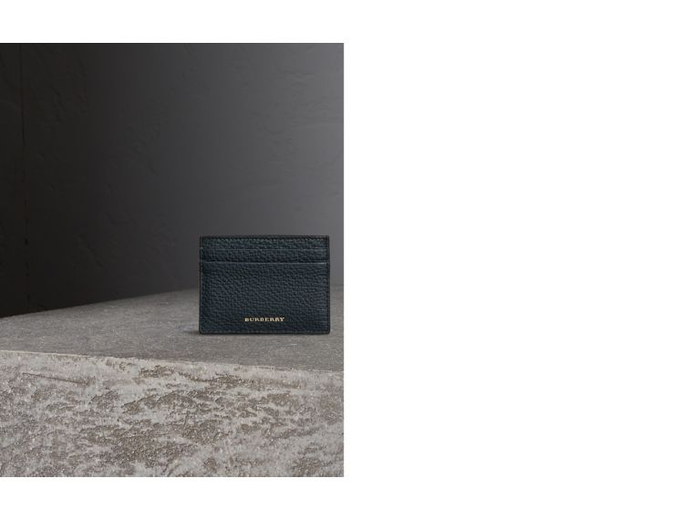 House Check and Grainy Leather Card Case in Storm Blue - cell image 1