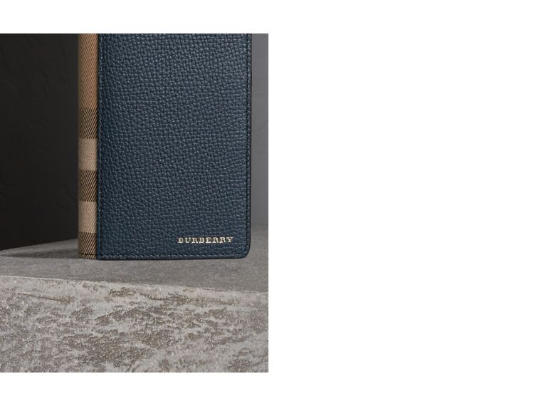 House Check and Grainy Leather Continental Wallet in Storm Blue | Burberry - cell image 1