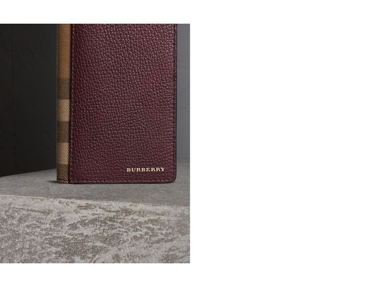 Wine House Check and Grainy Leather Continental Wallet Wine - cell image 1