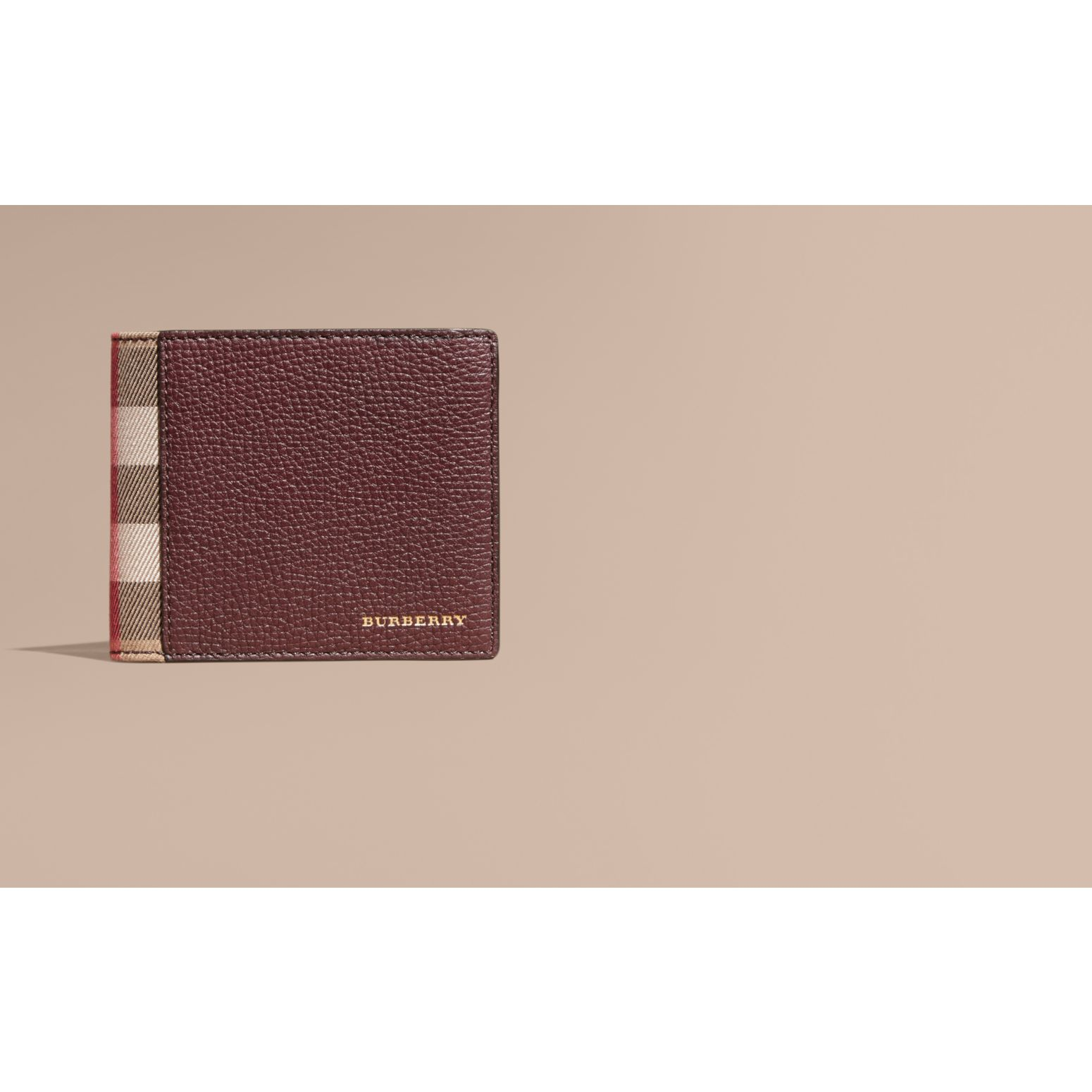 Leather and House Check Folding Wallet Wine - gallery image 2