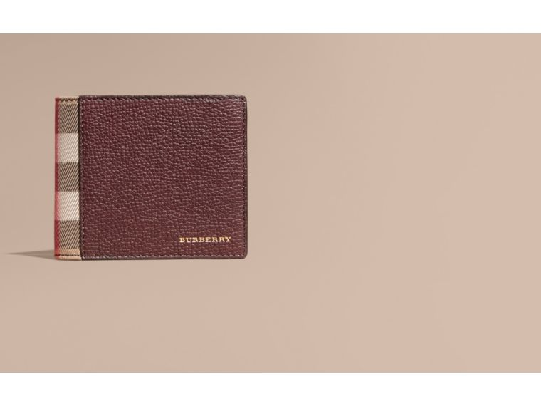 Leather and House Check International Bifold Wallet in Wine | Burberry - cell image 1
