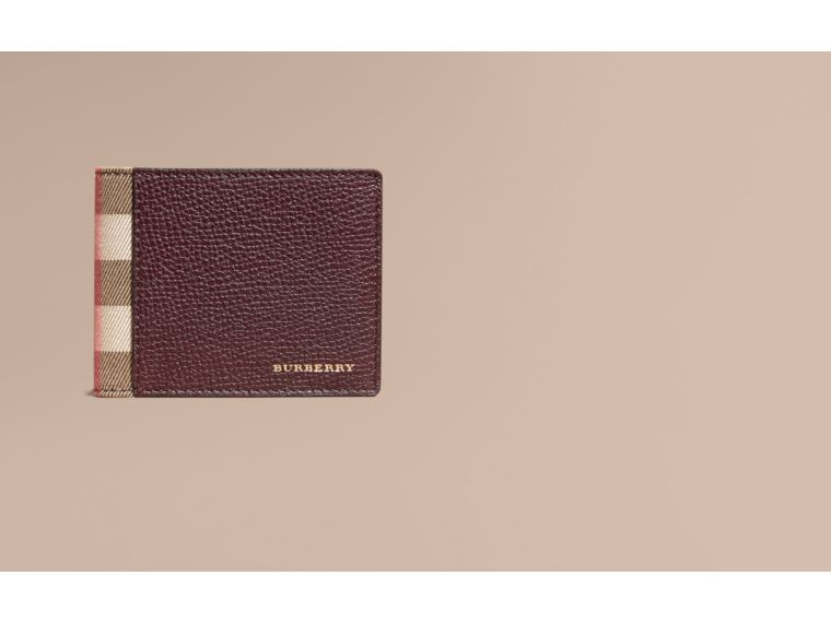 Grainy Leather and House Check Bifold Wallet in Wine | Burberry - cell image 1
