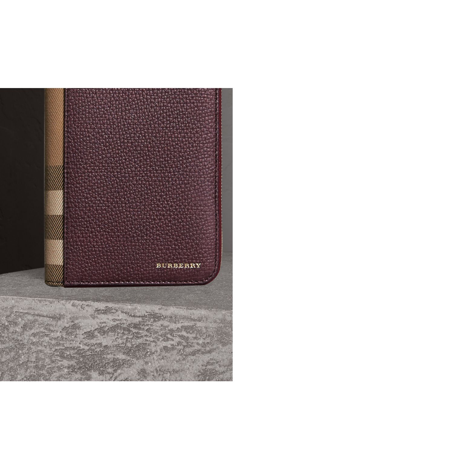 House Check and Grainy Leather Ziparound Wallet in Wine | Burberry Singapore - gallery image 2