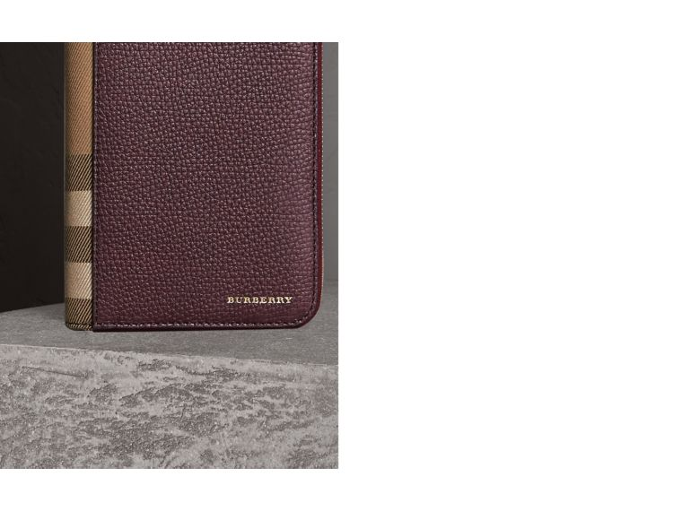 House Check and Grainy Leather Ziparound Wallet in Wine - cell image 1