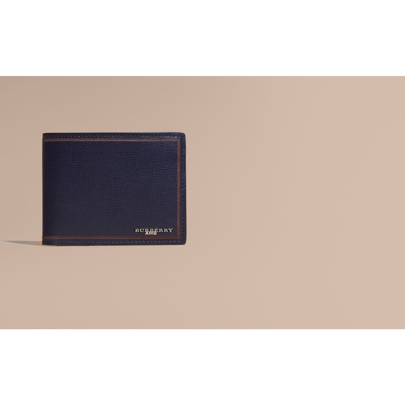 Border Detail London Leather Folding Wallet Dark Navy - gallery image 2