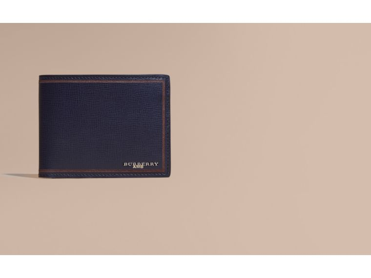 Border Detail London Leather Folding Wallet Dark Navy - cell image 1