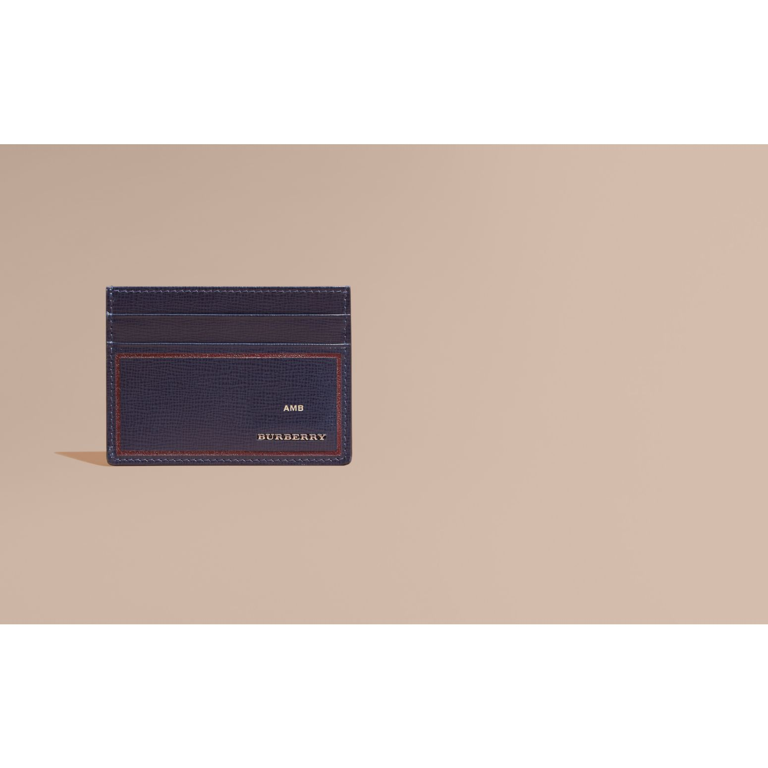 Border Detail London Leather Card Case Dark Navy - gallery image 2