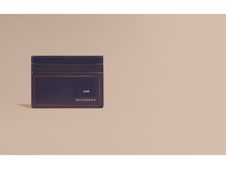 Border Detail London Leather Card Case Dark Navy - cell image 1