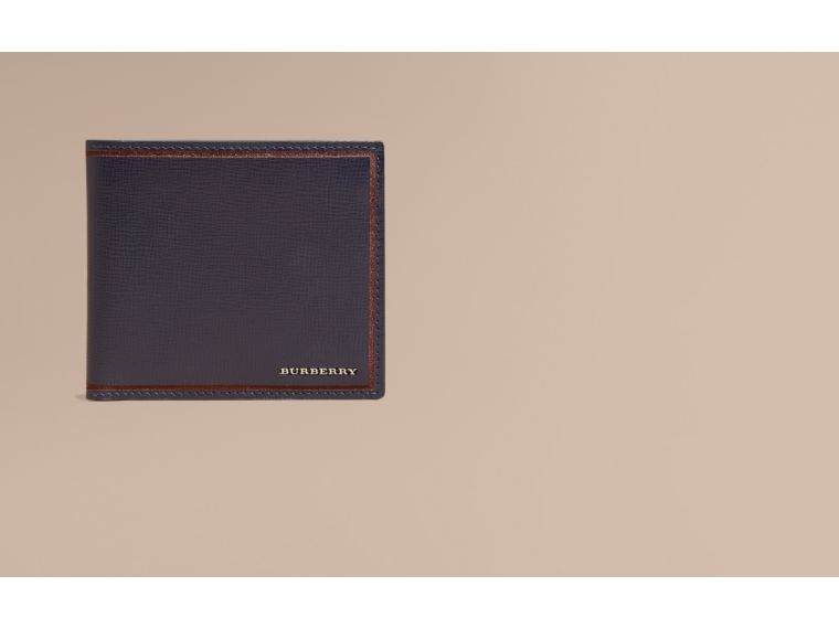 Dark navy Border Detail London Leather Folding Wallet Dark Navy - cell image 1