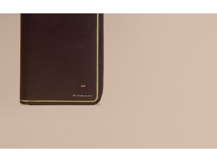 Border Detail London Leather Ziparound Wallet Peppercorn - cell image 1