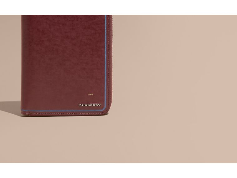 Border Detail London Leather Ziparound Wallet Burgundy Red - cell image 1