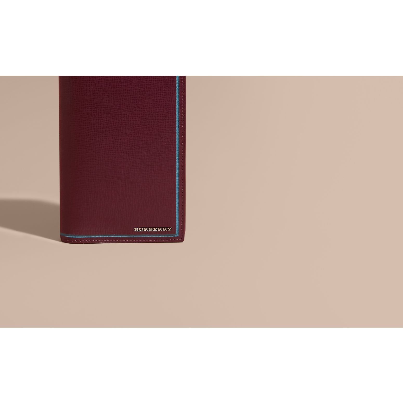 Border Detail London Leather Continental Wallet Burgundy Red - gallery image 2
