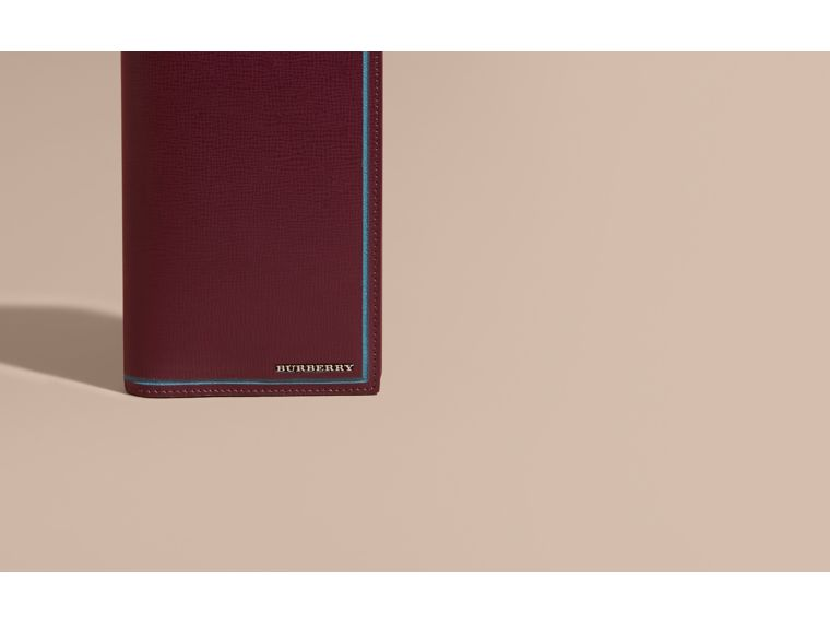 Border Detail London Leather Continental Wallet Burgundy Red - cell image 1