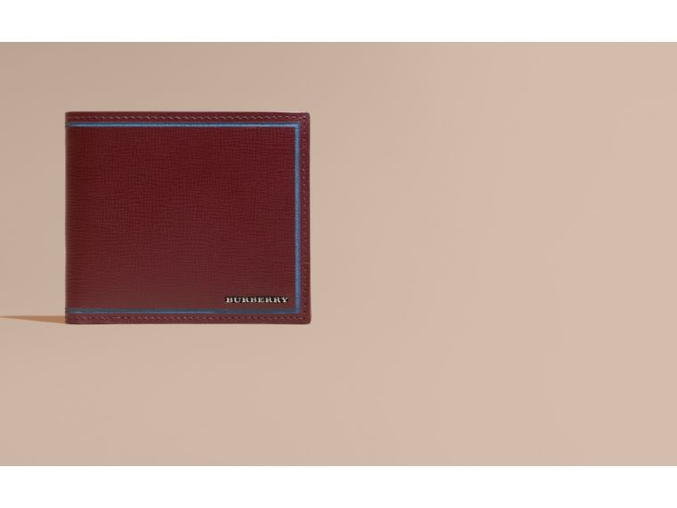 Burgundy red Border Detail London Leather Folding Wallet Burgundy Red - cell image 1