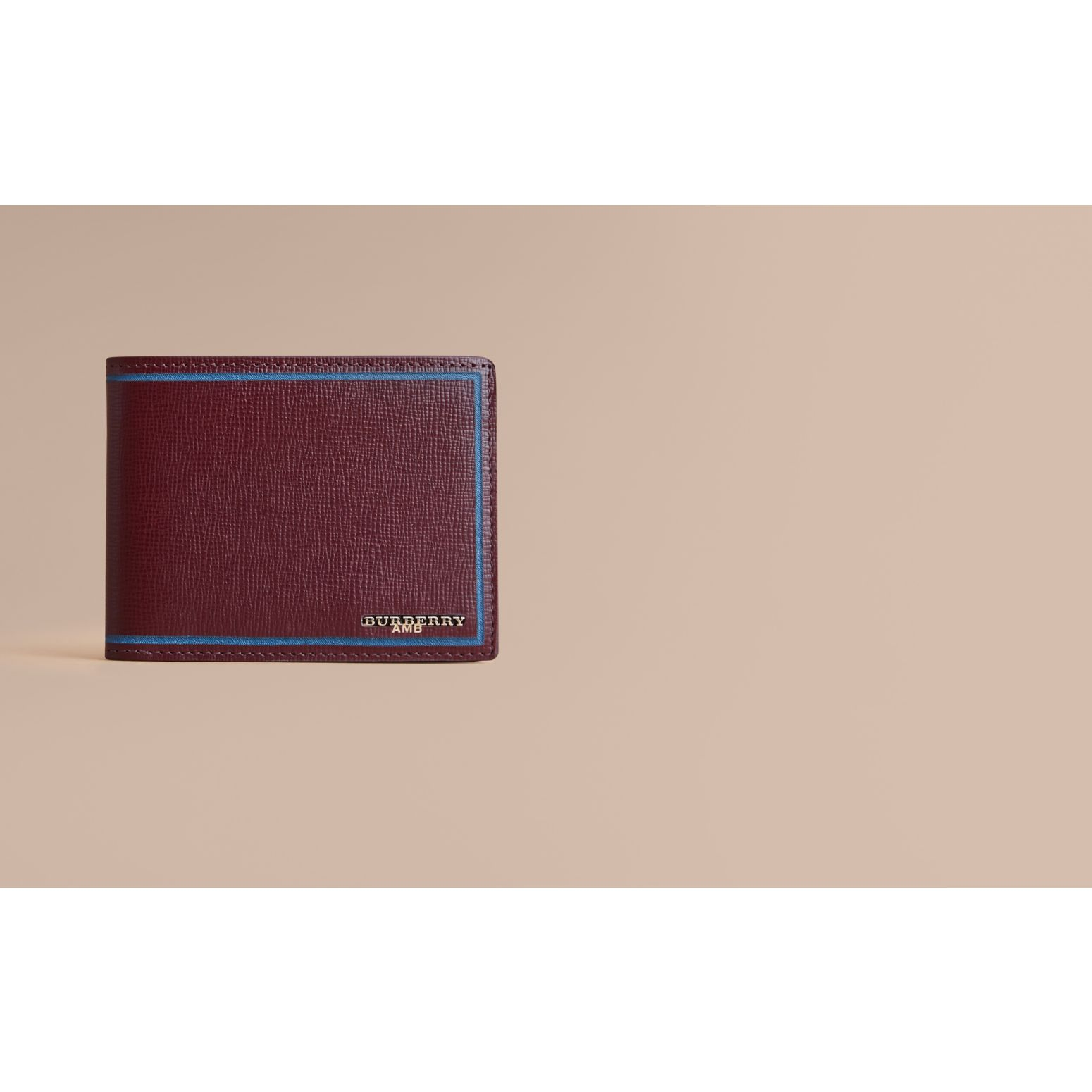 Border Detail London Leather Folding Wallet Burgundy Red - gallery image 2