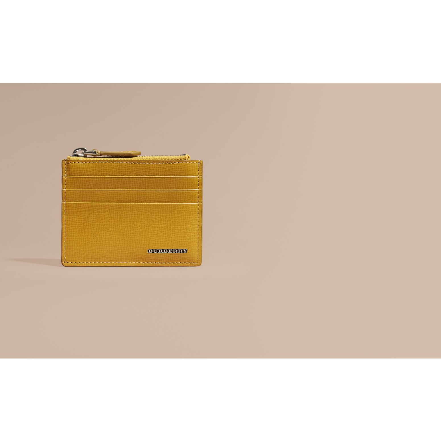 London Leather Zip-top Card Case Larch Yellow - gallery image 2