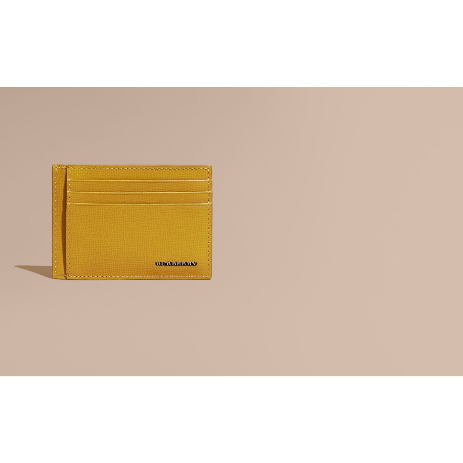 London Leather Card Case Larch Yellow - gallery image 2