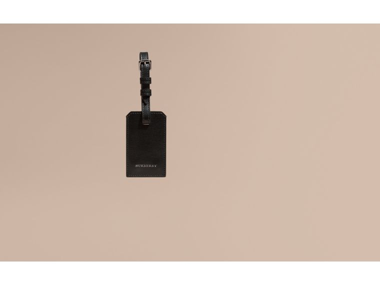 London Leather Luggage Tag in Black | Burberry - cell image 1