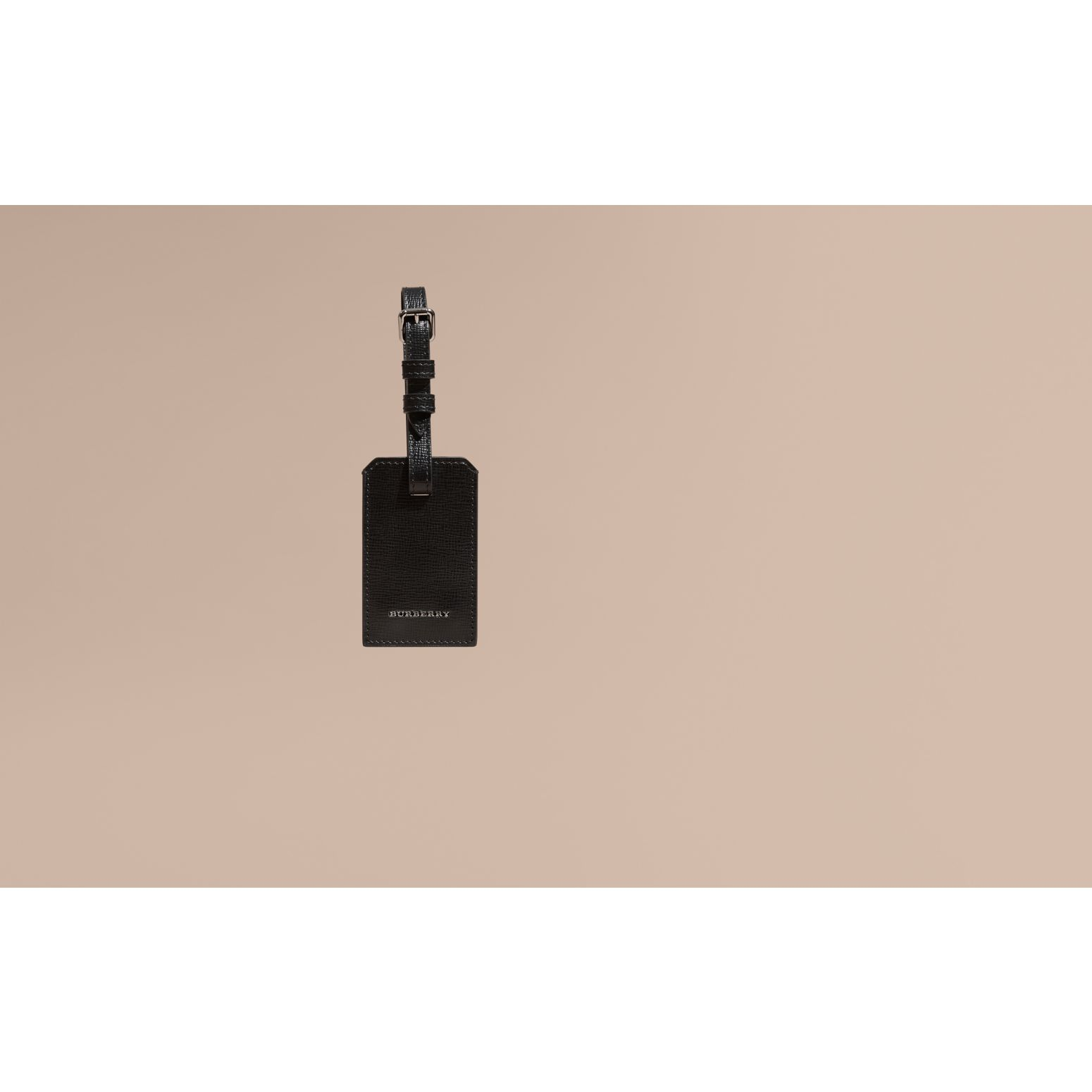 London Leather Luggage Tag Black - gallery image 2