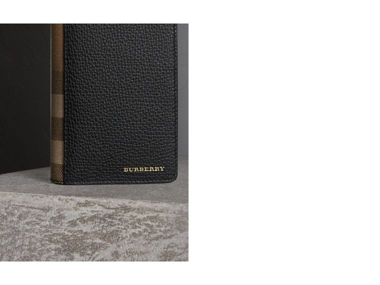 House Check and Grainy Leather Continental Wallet in Black - cell image 1