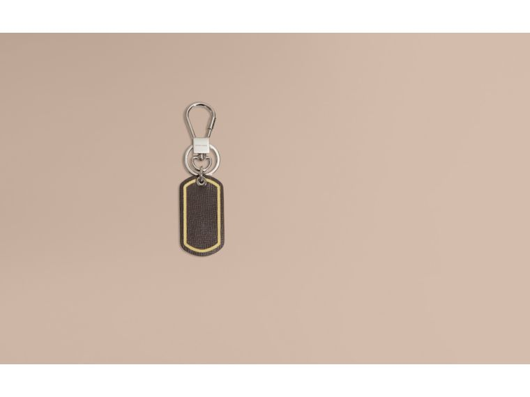 Border Detail London Leather Key Charm - cell image 1