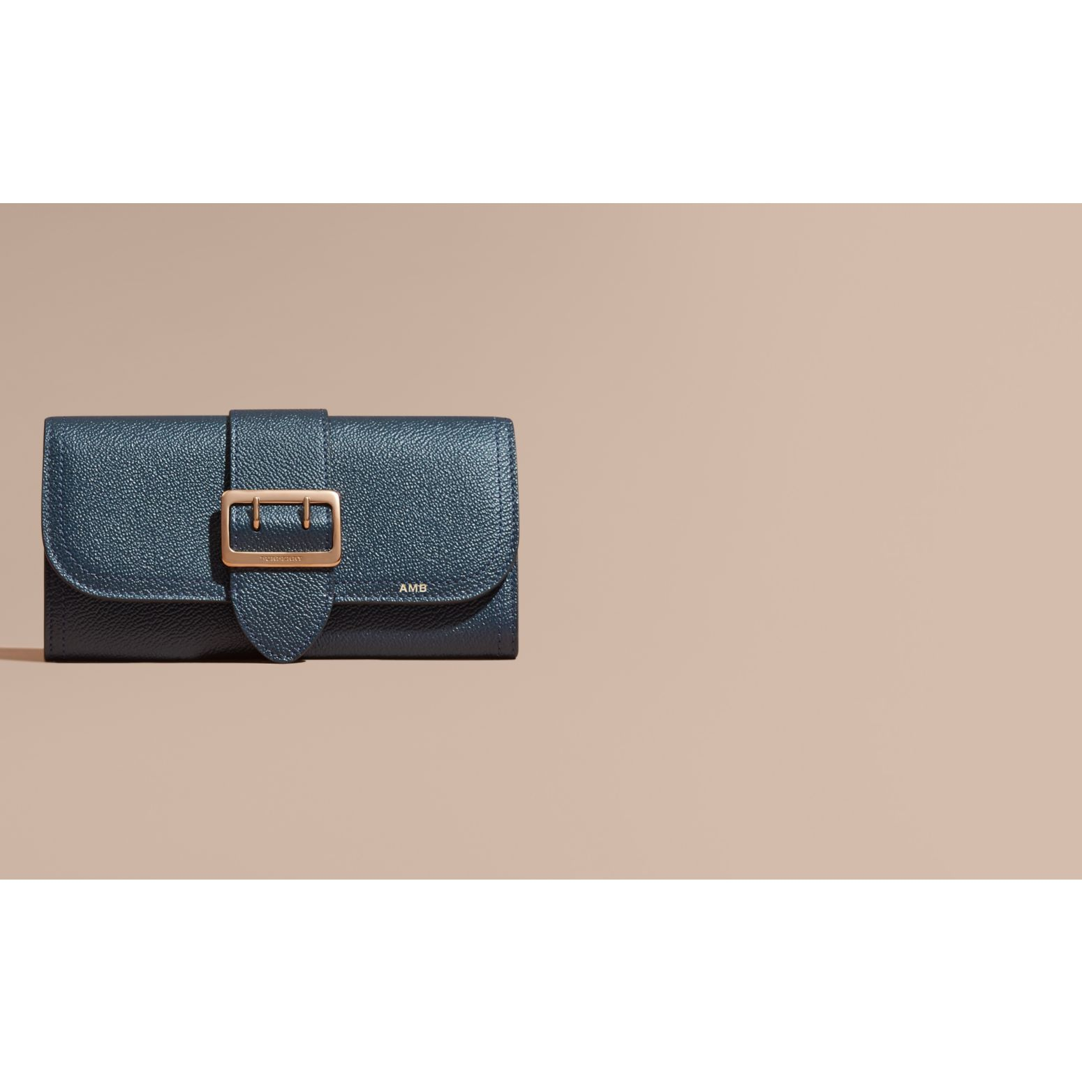 Textured Leather Continental Wallet Blue Carbon - gallery image 2