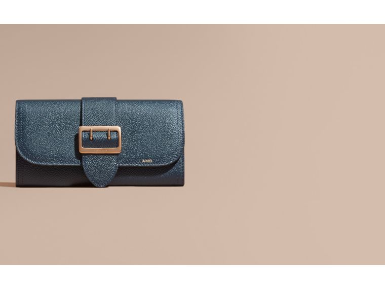 Textured Leather Continental Wallet in Blue Carbon - Women | Burberry - cell image 1