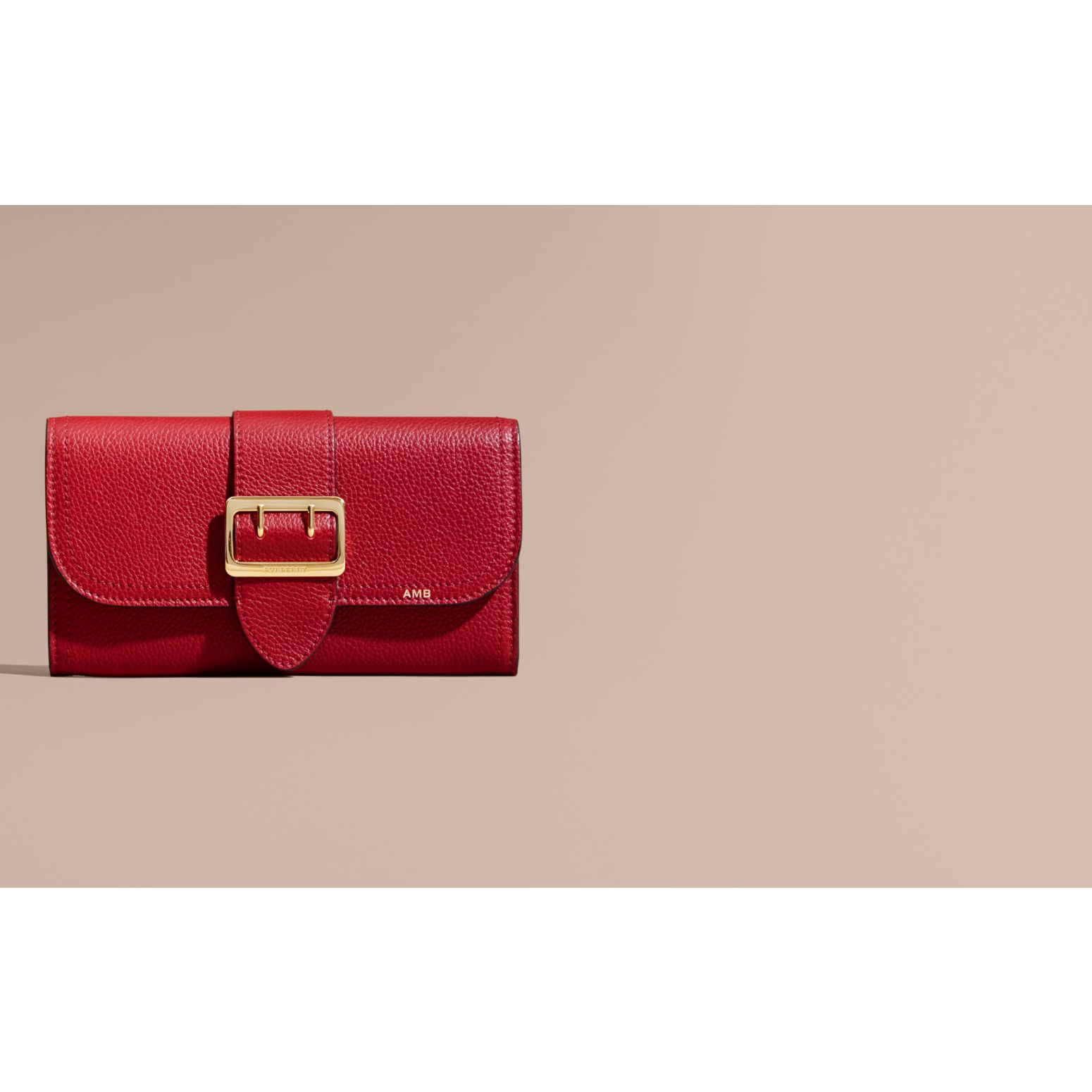 Textured Leather Continental Wallet in Parade Red - Women | Burberry Canada - gallery image 2