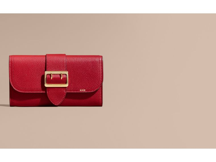 Textured Leather Continental Wallet in Parade Red - Women | Burberry - cell image 1