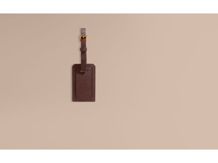 Leather and House Check Luggage Tag Wine - cell image 1
