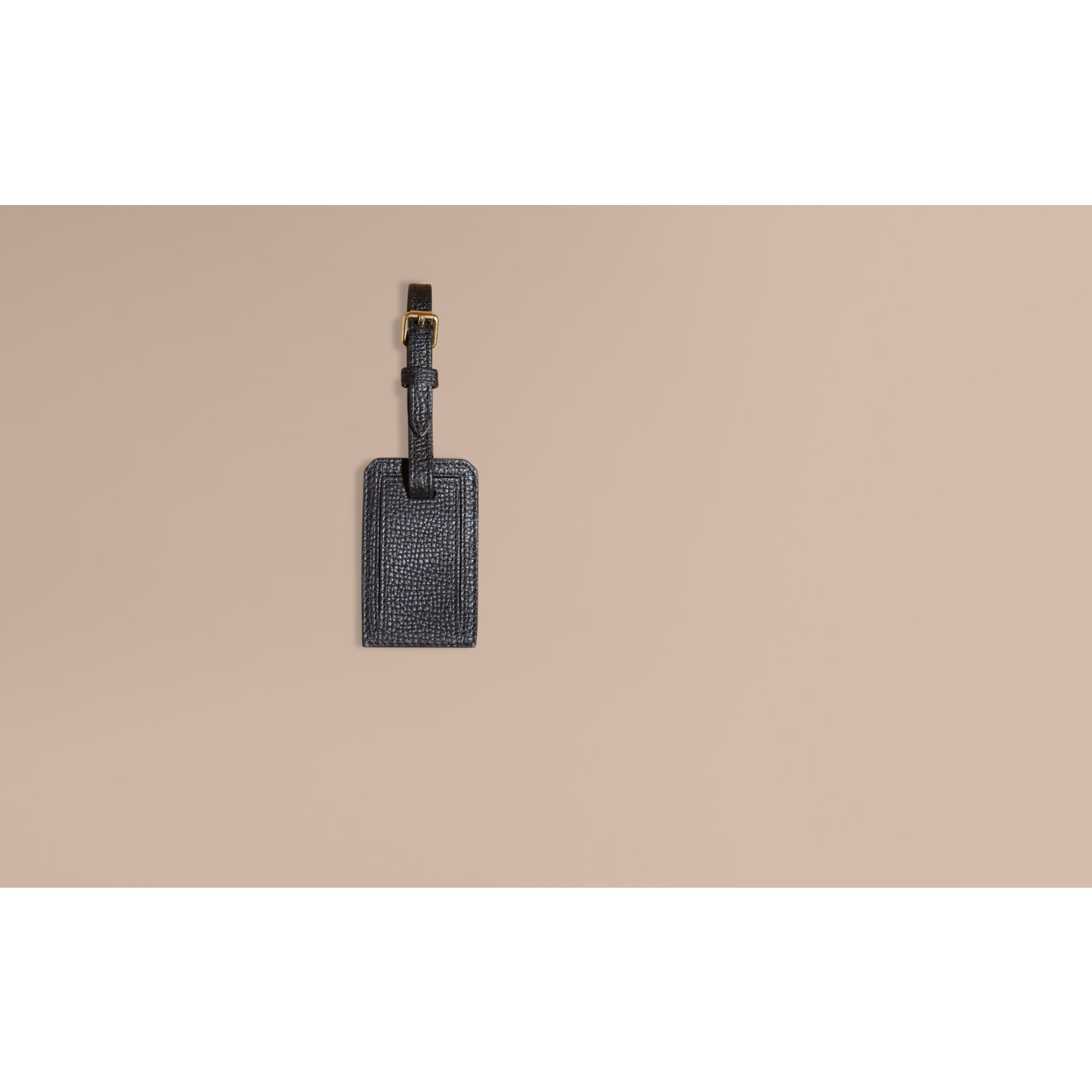 Leather and House Check Luggage Tag Black - gallery image 2