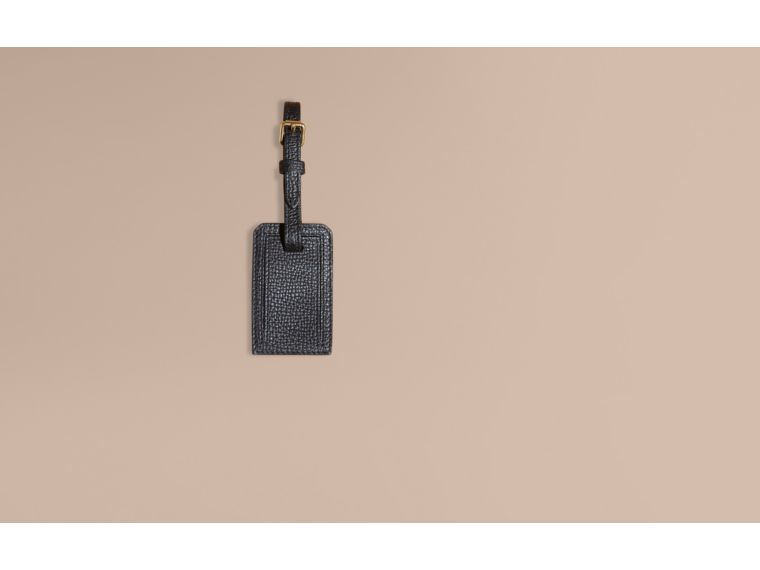 Leather and House Check Luggage Tag Black - cell image 1