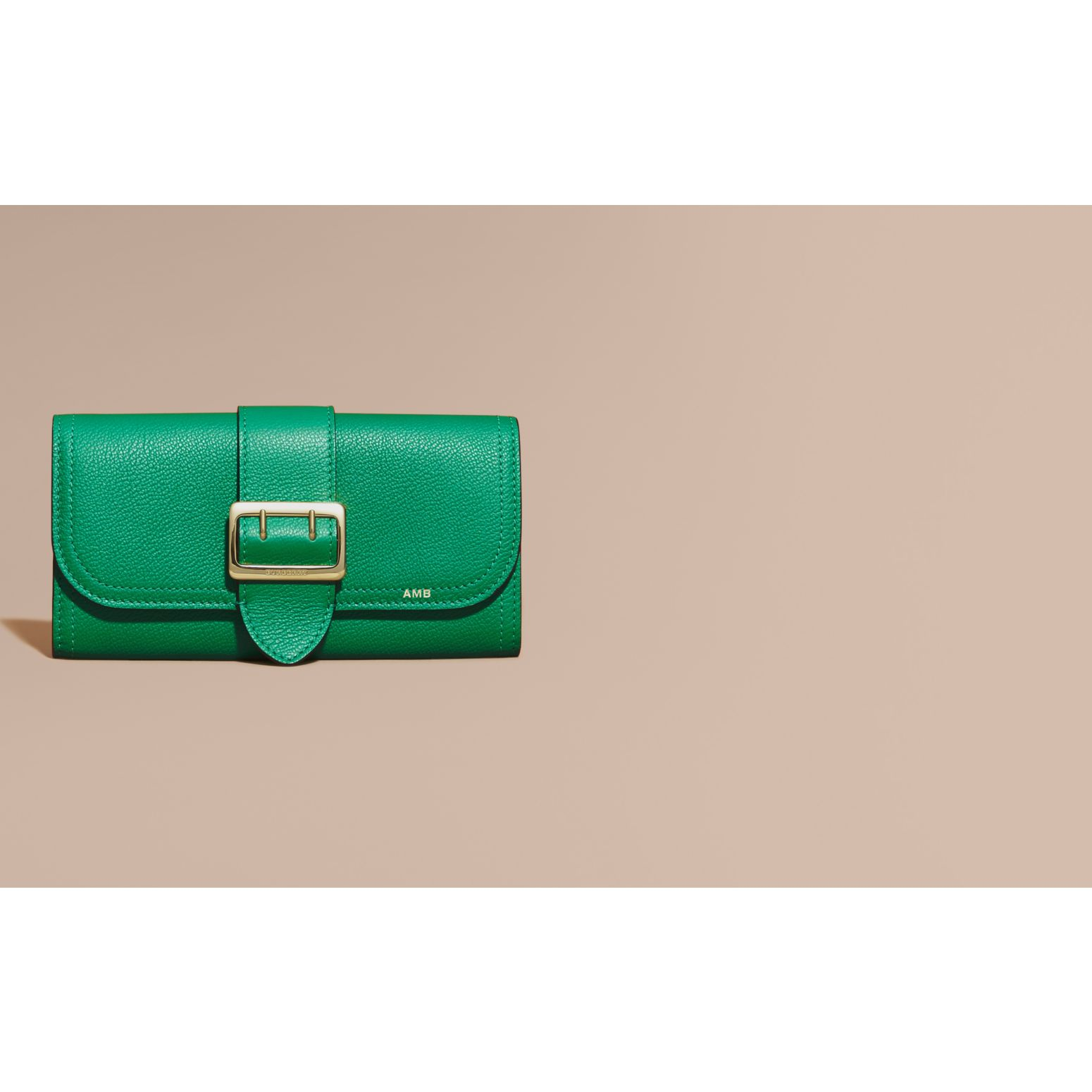 Textured Leather Continental Wallet in Bright Pigment Green - Women | Burberry - gallery image 2